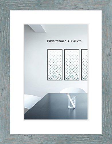 WANDStyle - Cadre Photo H750 - Style cabane de Plage - Bois Massif/Verre Normal - Bleu - 30 x 40 cm
