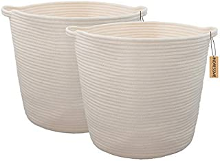 INDRESSME 2 Pack XL Round Cotton Rope Storage Basket Baby Laundry Basket Woven Baskets Blanket Soft Floor Basket with Handle for Throw Toy 16.0