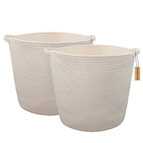 INDRESSME 2 Pack XL Round Cotton Rope Storage Basket Baby Laundry Basket Woven Baskets Blanket Soft Floor Basket with Handle for Throw Toy 160x 150x126Off White