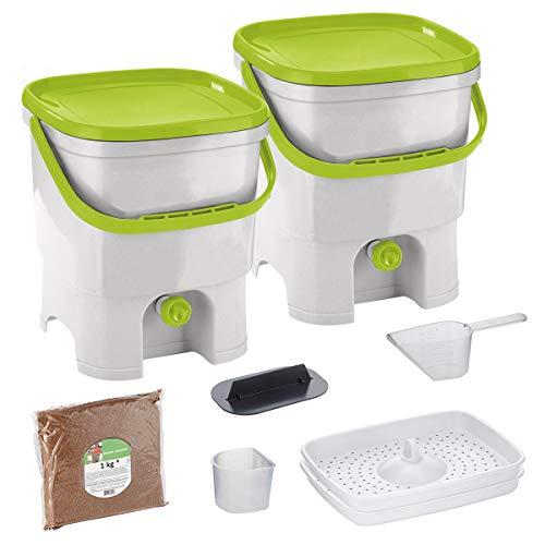 Skaza Bokashi Organko Set (2 x 16 L) mit 2 Kompostbehältern aus Recyceltem Kunststoff | Anfänger-Set für Küchenabfälle und Kompostierung | Mit Bokashi Organko Ferment 1 kg (Weiß-Limette)