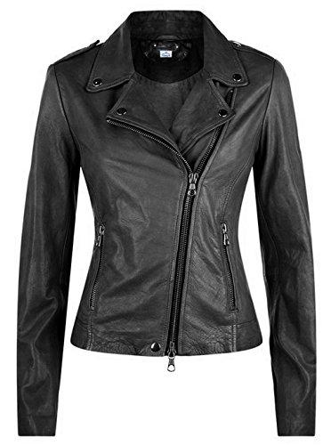VearFit Styilo Missy Original Lammfell Schwarz Lederjacke für Damen Winterkollektion