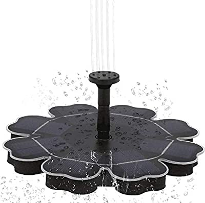 Decdeal Solar Fountain Pump for Birdbath Upgraded 2.5W Freestanding Floating Brushless Solar Water Pump With 8 Different Spray Pattern Heads for Outdoor Bird Bath Garden Pond Pool by Decdeal