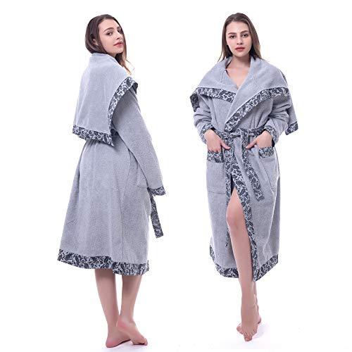 Women's Cotton Bathrobe Long| Knit Edging Shawl Cloak V-Neck| Soft Warm Thick Towel Robe for Shower Spa Hotel (Grey, L)