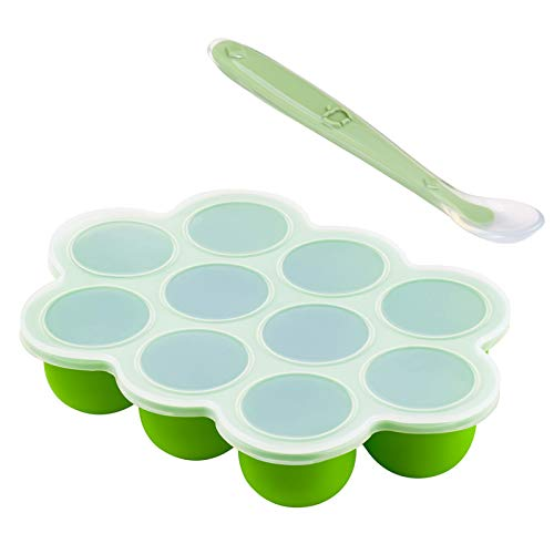 Silicone Baby Food Freezer Tray with Clip-on Lid .Storage Container for...