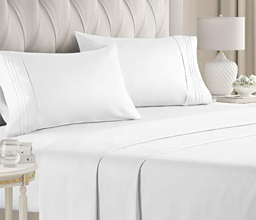 King Size Sheet Set - 4 Piece Set - Hotel Luxury Bed Sheets - Extra Soft - Deep Pockets - Easy Fit - Breathable & Cooling Sheets - Wrinkle Free - Comfy - White Bed Sheets - Kings Sheets – 4 PC