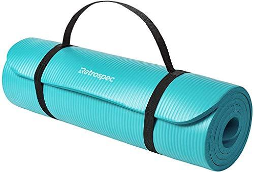 Retrospec Solana Yoga Mat 1/2' Thick w/Nylon Strap for Men & Women - Non Slip Excercise Mat for Yoga, Cool Lavender, 1/2 inch (3408s)