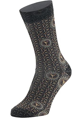 Carlo Colucci Bedruckte Socken, 1er Pack Schwarz 39-42