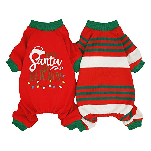 Fitwarm Dear Santa I Can Explain 2-Pack 100% Cotton Dog Christmas Pajamas for Pet Clothes Doggie Holiday Costumes Onesies Puppy Jammies Large