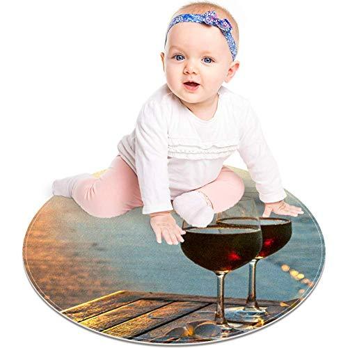 MUOOUM twee glazen rode wijn bij zonsondergang in de buurt van water lijn Ronde omgeving tapijt Ronde Tapijt Wasbare Vloermatten Zachte Absorben Woonkamer Keuken Floormat Bad Tapijt