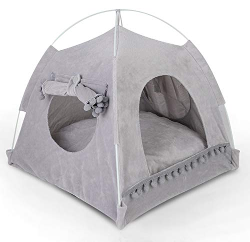 Cat Tent Cave Bed for Small Dog, 48*48*49cm, with Removable Washable Cushion Pillow, Portable Folding Cat Tent Kitten Bed Hut, Soft Microfiber Indoor Pet Bed Tent Warm Cozy Cave Cat Dog Puppy House