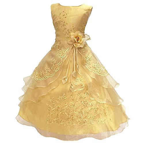 Live It Style It Mädchen Blumen Besticktes Kleid lagig Formell Hochzeit Party Brautjungfer Schulballkleid Kleider - Gold, 9-10 Years