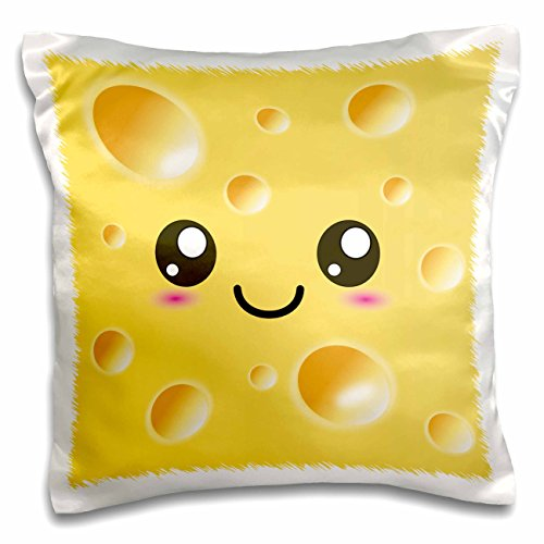 3dRose Cute Kawaii Happy Yellow Swiss Cheese with Holes A Smiley Face and Rosy Cheeks-Adorable Foods-Pillow Case, 16 by 16