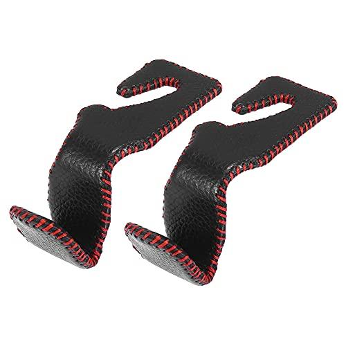 X AUTOHAUX 2uds Universal Imitación Cuero Coche Reposacabezas Gancho para Bolso Negro Rojo