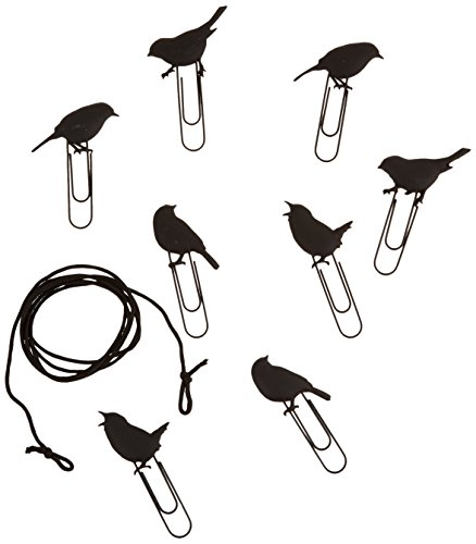 black cute Fred and Friends birds on a wire picture hangers set of 8 gifts for bird lover