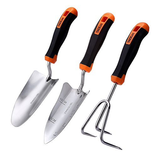TACKLIFE Garden Tool Set, 3 Piece Stainless Steel Heavy Duty Gardening Kit with Soft...