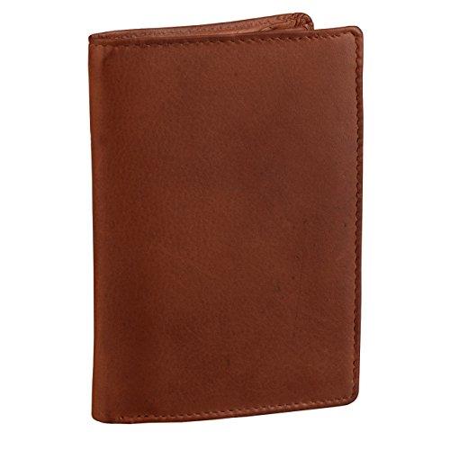 STILORD 'Logan' Portafoglio classico in pelle da uomo modello verticale con Portamonete Borsellino vero cuoio liscio, Colore:cognac-marrone