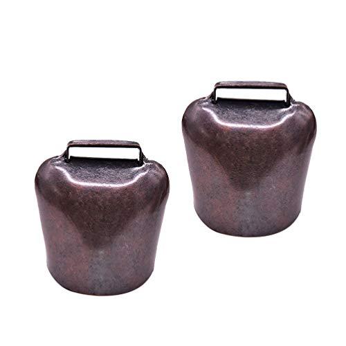 HEALLILY 2 Stücke Kuhglocke Ziegenglocke Klingelglocke Hängende Glocke kleine Antike Eisen Glocke 4,5 x 3,7 x 2,8 cm 37g