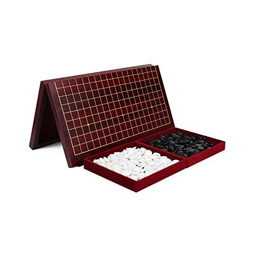 Faltbares Go Spiel, Brettspiel aus Holz - Tragbares Chinesisches Schachspiel mit Zwei Größen, Klassisches 2 Spieler Strategiespiel für Kinder für Erwachsene,Braun