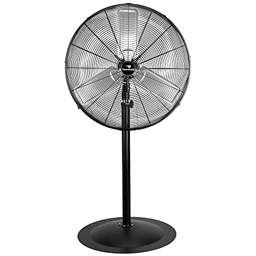 Tornado - 30 Inch Commercial Industrial 3 Aluminum Blade Stationary Pedestal Oscillating Fan, High Velocity 8500 CFM, UL Safety Listed, 3 Years Warranty