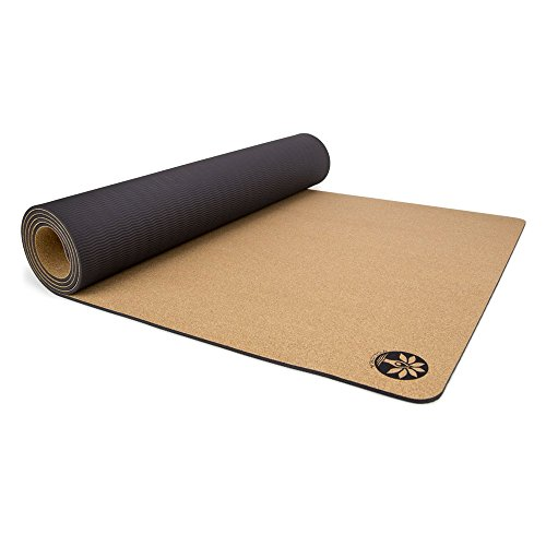"Yoloha Cork Aura Yoga Mat - 80""x26"" - 6mm Thick – Non Slip, Sustainable, Soft, Durable, Lightweight, Premium, Handmade, Moisture Resistant"