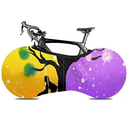Conceptos de la cubierta de la rueda de bicicleta en 2 lados Silueta Chica Antipolvo Bicicleta Bolsa de almacenamiento interior A prueba de rasguños, lavable Paquete de neumáticos de alta elasticidad