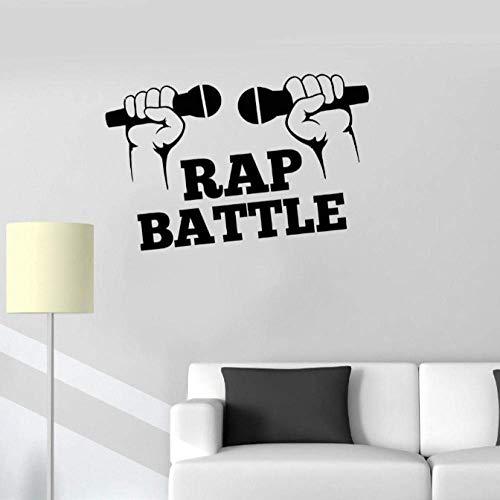 Vinyl Decal Rap Hip Hop Muziek Strijd Microfoon Muurstickers Mural 57X93Cm