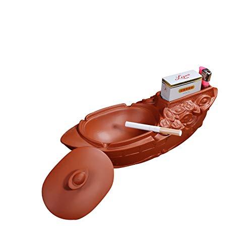 ZZSIccc Aschenbecher Lila Sand Aschenbecher Kreative Glatt Segeln Roten Kopf Boot Retro Mit Abdeckung Große Aschenbecher Bombe Aschenbecher Lagerung Handwerk Ornamente
