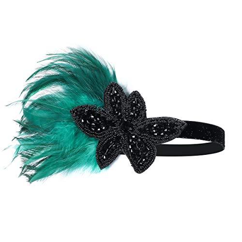 Bandeau années 1920 – Bandeau années 20 Gatsby le Magnifique accessoire pour fête - Vert - Medium