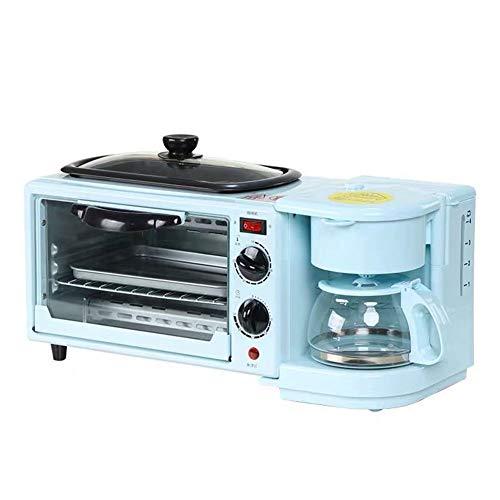 AIPZDJ Multifunción 3 en 1 Retro Máquina de Desayuno Tostadora Eléctrico Mini Horno Cafetera Huevos Sartén Pan de Molde Pizza Parrilla para Casa,Azul