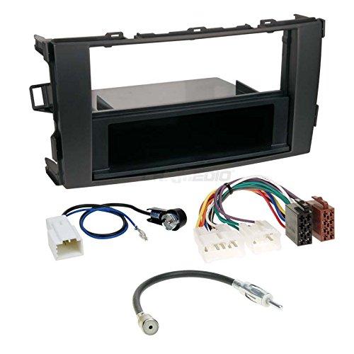 Carmedio Toyota Auris 07-12 1-DIN Autoradio Einbauset in original Plug&Play Qualität mit Antennenadapter Radioanschlusskabel Zubehör und Radioblende Einbaurahmen schwarz