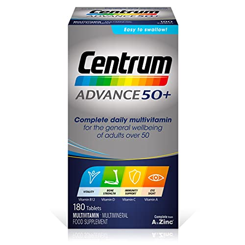 Centrum Advance 50+ Multivitamin & Mineral Tablets, 24 Essential Nutrients Including Vitamin D, Complete Multivitamin Tablets, 180 Tablets