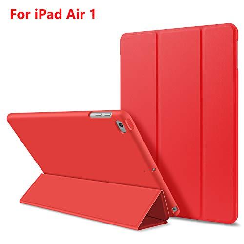 Custodia per iPad Air 1,Goojodoq Smart Cover con funzione Auto Sleep/Wake Magnetico PU Antiurto in Silicone Morbido TPU Custodia a Libro per Apple iPad Air 1 Rosso