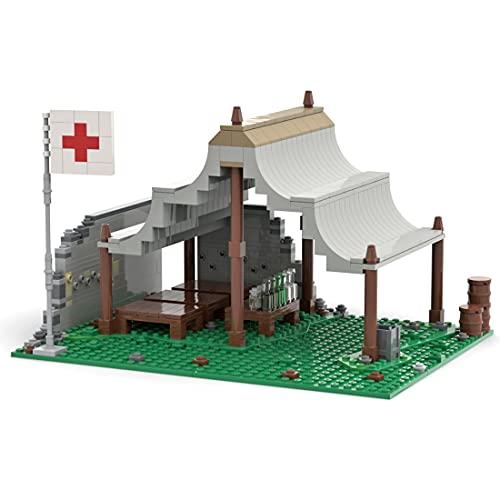 WWEI Arquitectura modular de casa de la WWII, estación de rescate militar, bloque de construcción, 477 juguetes para niños, compatible con Lego