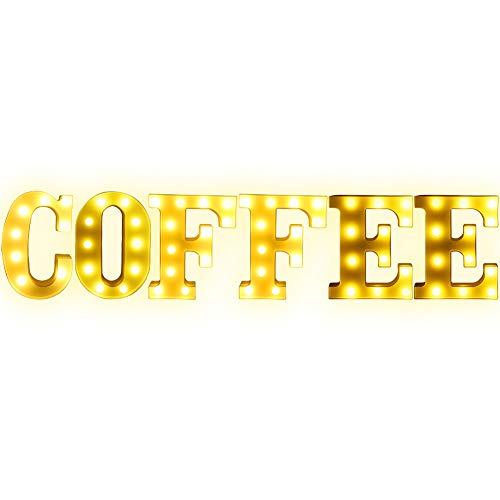 """Creation Core 8.7"""" Tall Large LED Coffee Word Marquee Signs Battery Operated Warm White Light Up Letters for Home Kitchen Office Wedding Cafe Decor, Coffee"""