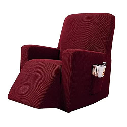 Funda De SillóN,Funda De Sofa Estiramiento reclinable sofá Cubierta sólido Todo Incluido sofá sofá Cubierta Impermeable Jacquard sillón SlegCOVERS para Sala de Estar (Color : Wine Red)