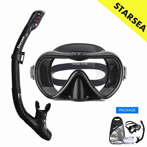 STARSEA Schnorchelset mit Schnorchel und Taucherbrille Premium Anti-Leck aus Gehärtetem Glas Geeignet für Erwachsene und Kinder Schnorcheln Schwimmen und Tauchen