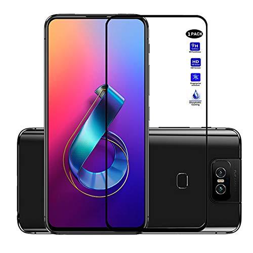 XMTON Asus Zenfone 6 ZS630KL,Asus Zenfone 6z,Asus Zenfone 6 2019 Bildschirmschutzfolie,Full Coverage 0,3mm Dünn,9H Festigkeitgrad,Ultra-klar Glasfolie Bildschirm Schutz Folie für Zenfone 6 ZS630KL (Schwarz-1)