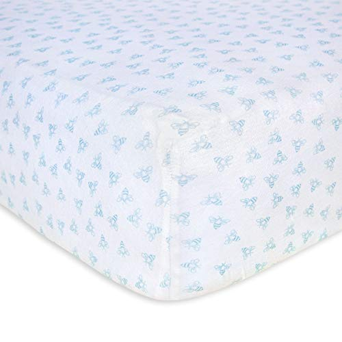 Burt's Bees Baby - Fitted Crib Sheet, Boys & Unisex 100% Organic Cotton Crib Sheet for Standard Crib and Toddler Mattresses (Sky Blue Honeybee Print)