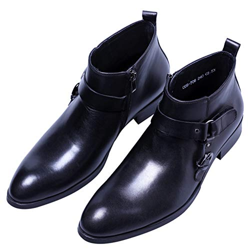 Santimon Klassisch Herren Stiefel Stiefeletten Glattleder Reißverschluss Monk Boots mit Schnalle 41 EU