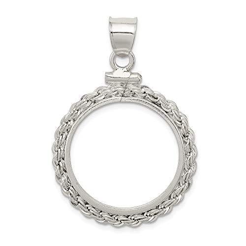 Sterling-Silber 925 21,1 x 2 mm $0,05 Seil Münzfassung/Anhänger, Kreisform