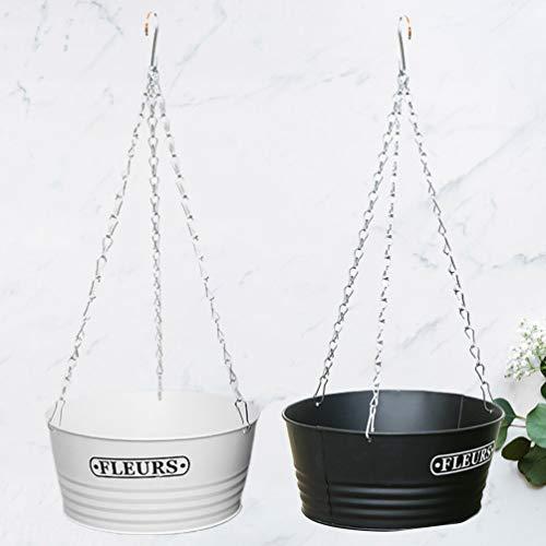 Yardwe 2 Stück Hängenden Korb Pflanzer Hängenden Blumentopf Wand Eisenkette Saftigen Pflanzer Dekorativ für Zuhause Indoor Outdoor Büro (Weiß + Schwarz)