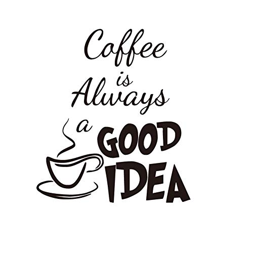 JUNGEN Pegatina de Pared Frase Inglesa del Coffee Etiqueta de Pared Taza de café Adhesivo de Pared Desmontable para Cafe Cocina Sala de Estar Oficina Decoración 58x20cm