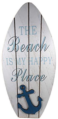 Maritim Wandschild Surfboard 35 x 16 cm Beach Happy Anker Deko GTT E31