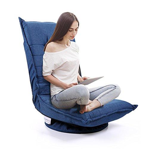 JAXSUNNY 360 Degree Swivel Folding Game Chair,Fabric 5-Position Adjustable Chair,Lazy Comfortable Sofa Chair,Blue