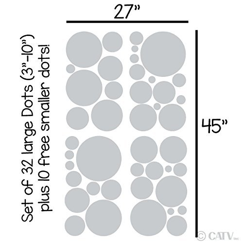 assortis en vinyle Pois Cercle Stickers muraux Stickers muraux en vinyle Chambre Decor (Gris clair/Lot de 32) par mur avec dictons sur les lettres en vinyle