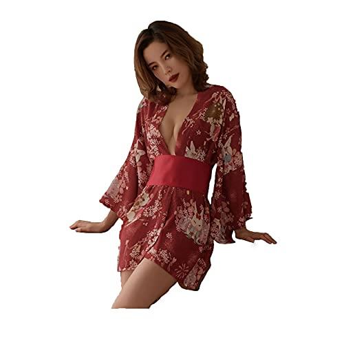 NLASHFO Kimono Pijamas Uniforme de Fiesta Gasa Uniforme Impreso Albornoz Pijamas de Cama(Color:Red)