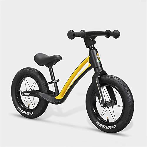 DDXY-Bicicleta de Equilibrio con Sillín Ajustable para Niños de 2 A 6 Años,Bicicleta para Niños Sin Pedales para Juguetes de Equilibrio para Niños Niñas Regalo de Cumpleaños,Amarillo