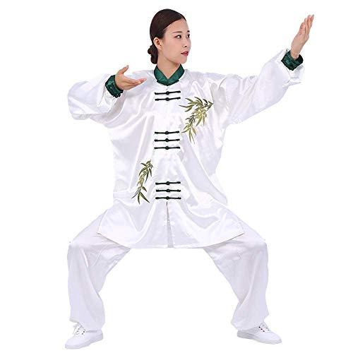 Axpdefi Tai Chi Ropa Artes Marciales Kung Fu Rendimiento Hoja de Bamb Hombres y Mujeres Estilo Chino Bordado Prctica Sanda Taekwondo XXXL