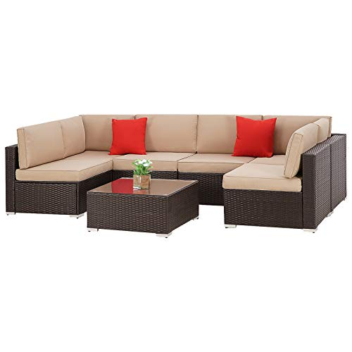 SUNCROWN Outdoor Patio Furniture 7-Piece Wicker Sofa Set, Washable Seat Cushions with YKK Zippers and Modern Glass Coffee Table&Clips(Brown Cushion)