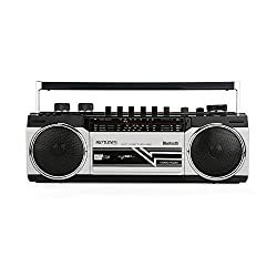 Riptunes Cassette Boombox, Retro Blueooth Boombox, Cassette Player and Recorder, AM/FM/SW-1-SW2 Radio-4-Band Radio, USB, SD, Headphone Jack,Riptunes,SG_B07KFQTJWS_US